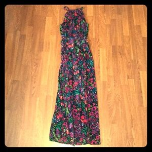 Modcloth floral, fully lined maxi dress sz small